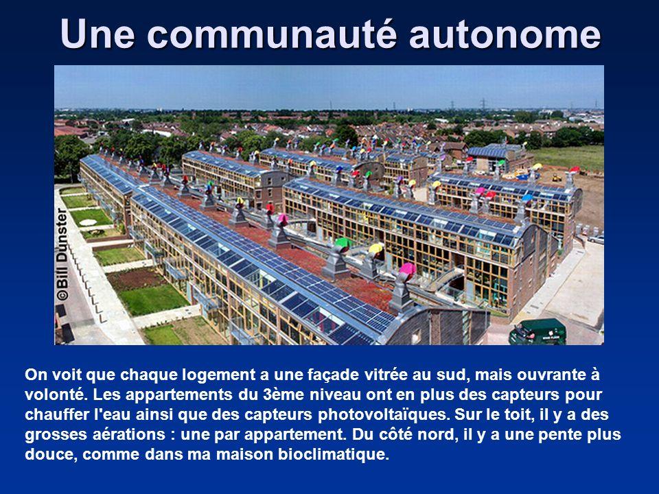 Une communauté autonome On voit que chaque logement a une façade vitrée au sud, mais ouvrante à volonté. Les appartements du 3ème niveau ont en plus d