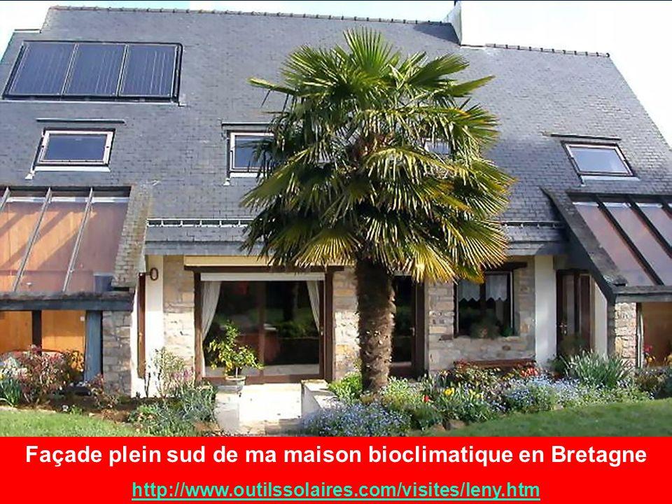Façade plein sud de ma maison bioclimatique en Bretagne http://www.outilssolaires.com/visites/leny.htm