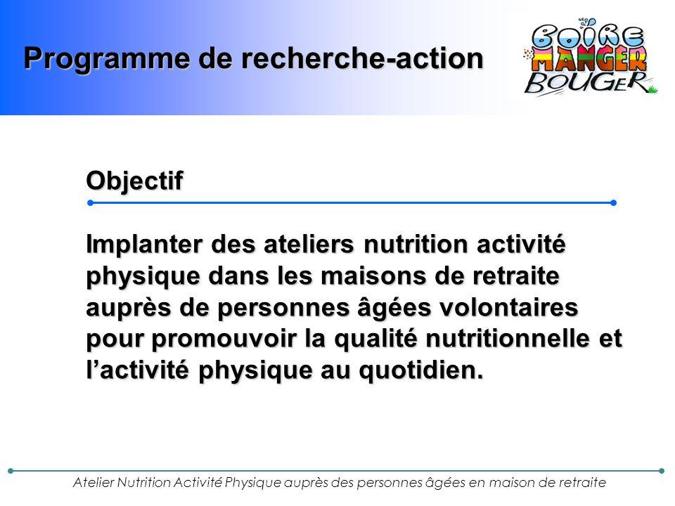 Atelier Nutrition Activité Physique auprès des personnes âgées en maison de retraite Perspectives Ce programme bénéficie d un financement