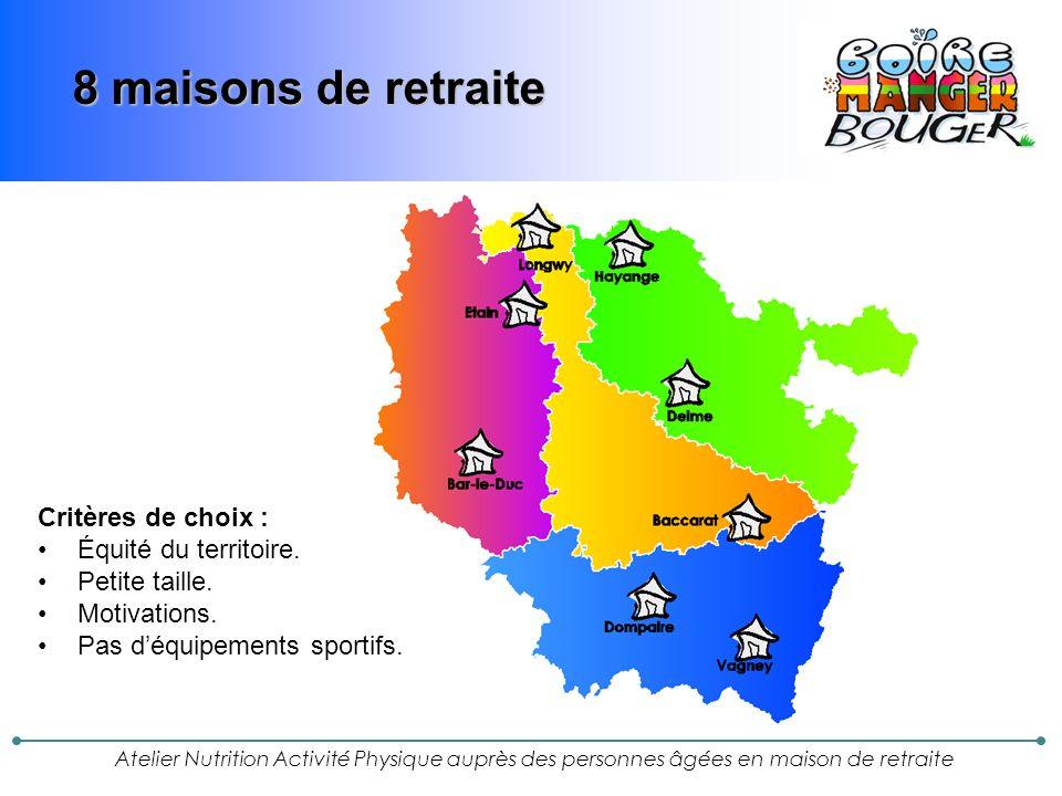 Atelier Nutrition Activité Physique auprès des personnes âgées en maison de retraite 8 maisons de retraite Critères de choix : Équité du territoire.