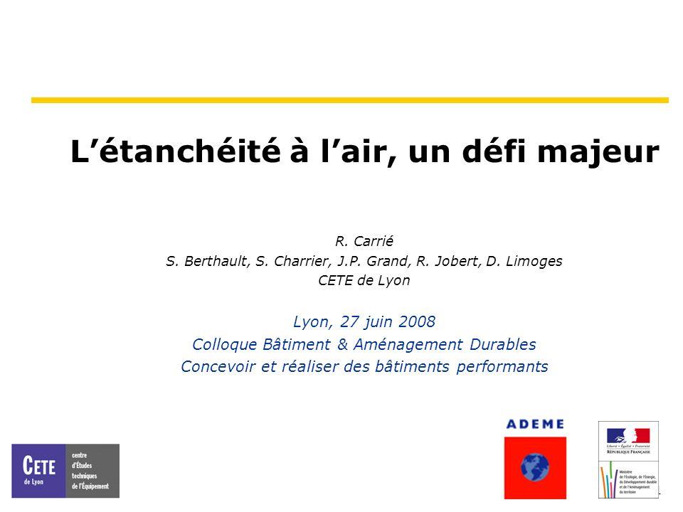 2 Etanchéité à lair Ce nest pas un sujet nouveau Analysé en détail 1980 en Norvège et aux Etats-Unis … Rapport de 1983 du CETE de Lyon … Source : Revue AIR (Air Infiltration Review), August 1980, AIVC, www.aivc.org