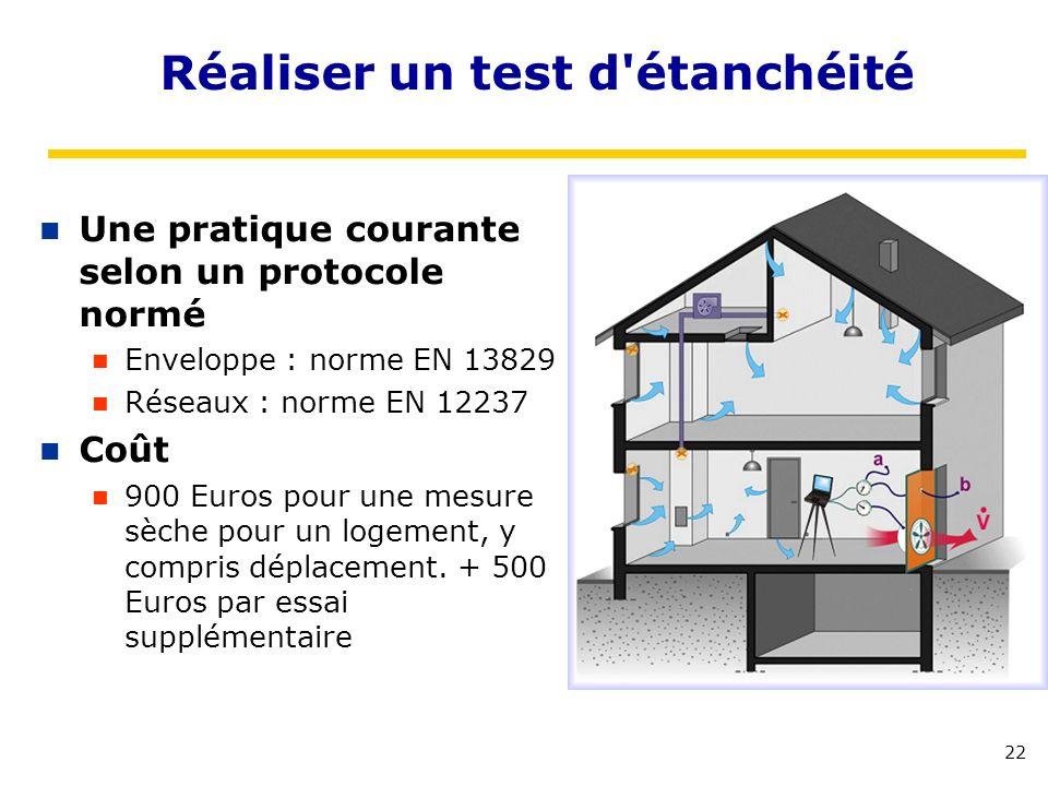 22 Réaliser un test d'étanchéité Une pratique courante selon un protocole normé Enveloppe : norme EN 13829 Réseaux : norme EN 12237 Coût 900 Euros pou