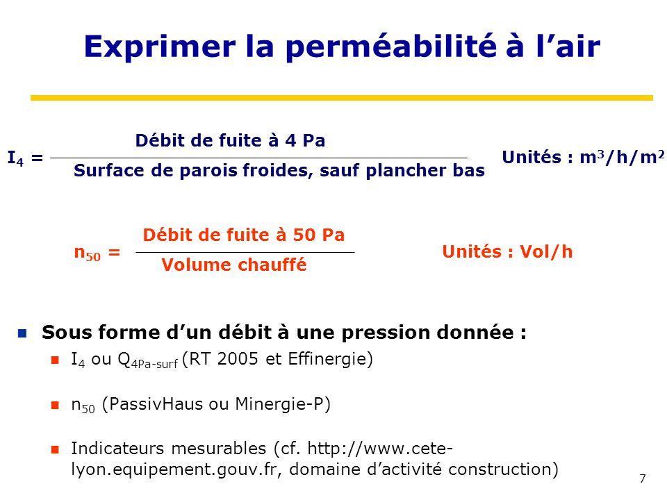 7 Exprimer la perméabilité à lair Sous forme dun débit à une pression donnée : I 4 ou Q 4Pa-surf (RT 2005 et Effinergie) n 50 (PassivHaus ou Minergie-