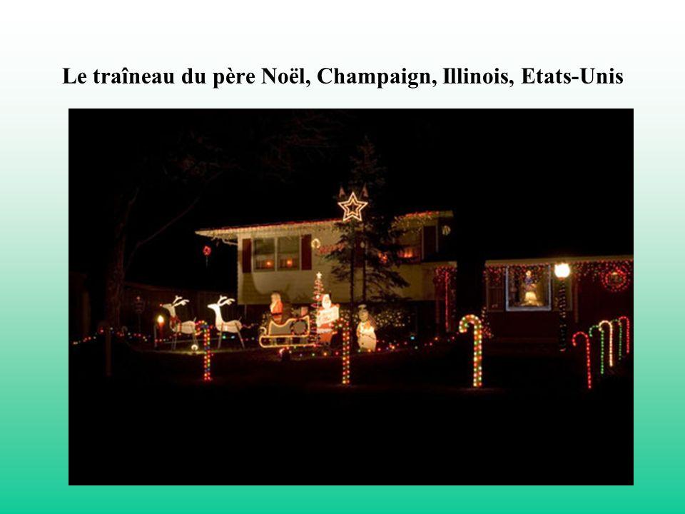 Le traîneau du père Noël, Champaign, Illinois, Etats-Unis