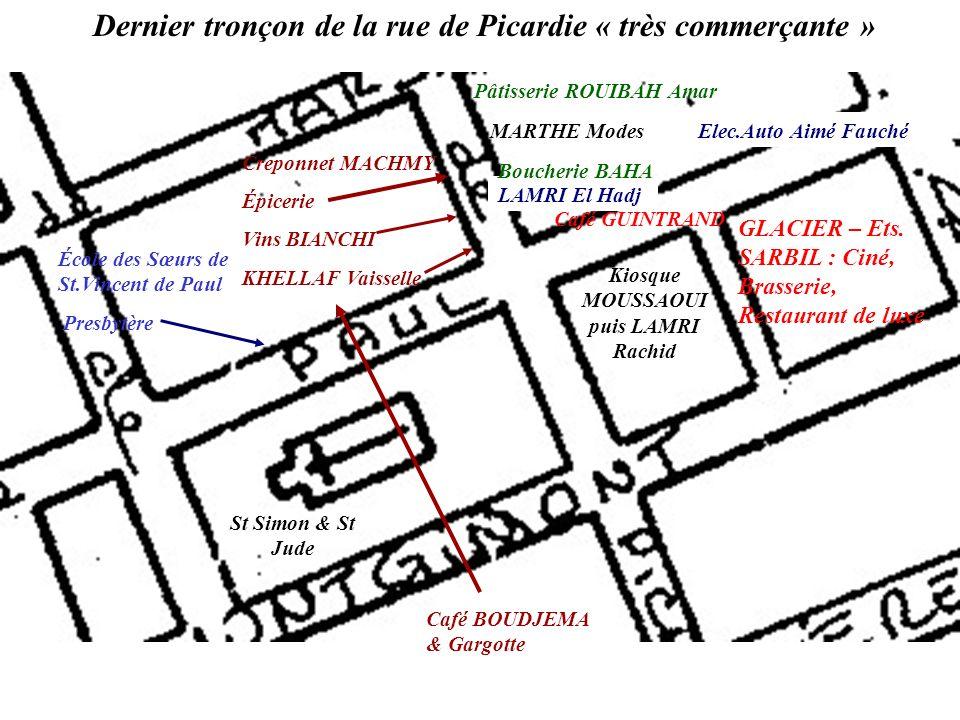 1974 : kiosque & Place – à droite, R.Picardie, Côté Lamri, Haïne