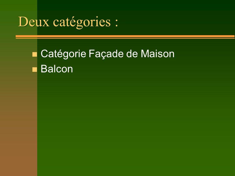Deux catégories : n Catégorie Façade de Maison n Balcon