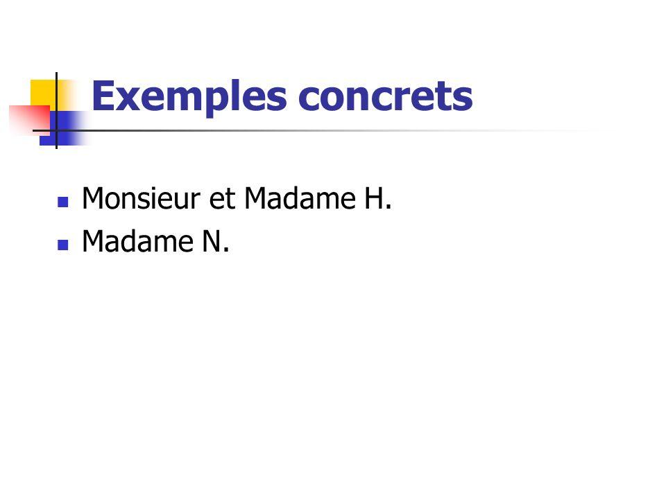 Exemples concrets Monsieur et Madame H. Madame N.