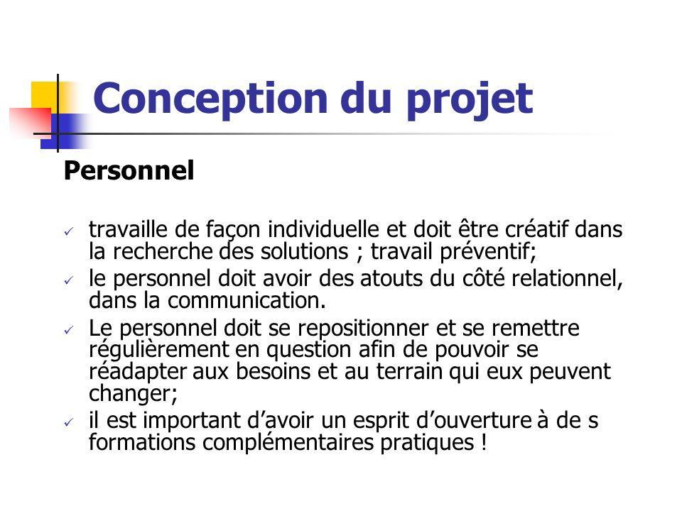 Conception du projet Personnel travaille de façon individuelle et doit être créatif dans la recherche des solutions ; travail préventif; le personnel doit avoir des atouts du côté relationnel, dans la communication.