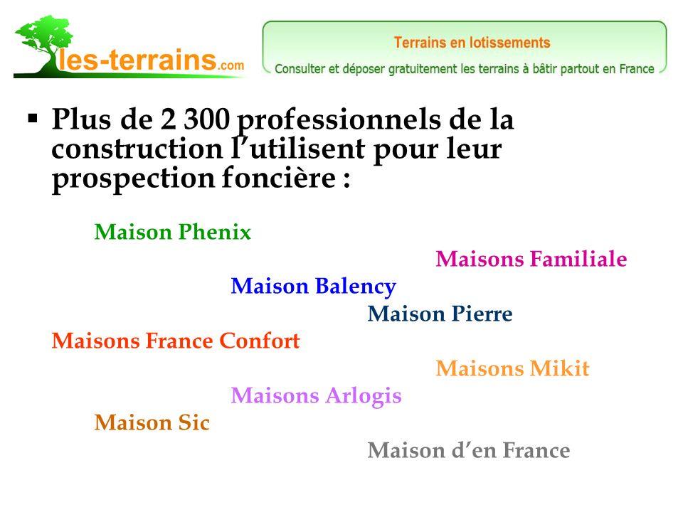 Plus de 2 300 professionnels de la construction lutilisent pour leur prospection foncière : Maison Phenix Maisons Familiale Maison Balency Maison Pierre Maisons France Confort Maisons Mikit Maisons Arlogis Maison Sic Maison den France