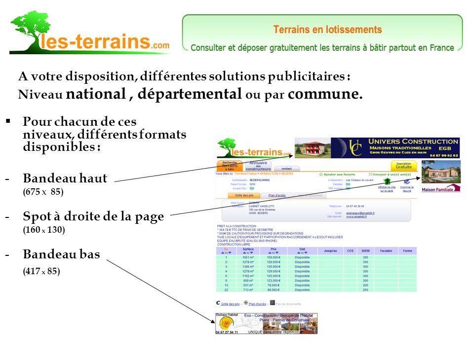 Retrouvez tous nos tarifs en bas de chaque page Internet du site, rubrique « Espace publicitaire ».