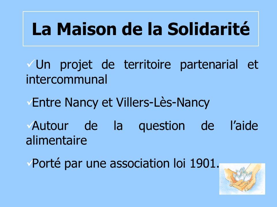 La Maison de la Solidarité Un projet de territoire partenarial et intercommunal Entre Nancy et Villers-Lès-Nancy Autour de la question de laide alimentaire Porté par une association loi 1901.