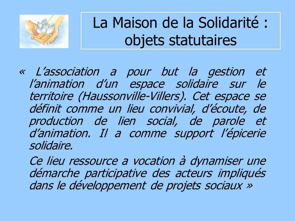 La Maison de la Solidarité : objets statutaires « Lassociation a pour but la gestion et lanimation dun espace solidaire sur le territoire (Haussonville-Villers).