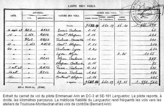 Extrait du carnet de vol du pilote Emmanuel Arin en DC-3 et SE-161 Languedoc.