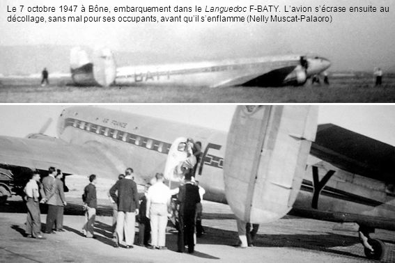 Le 7 octobre 1947 à Bône, embarquement dans le Languedoc F-BATY.