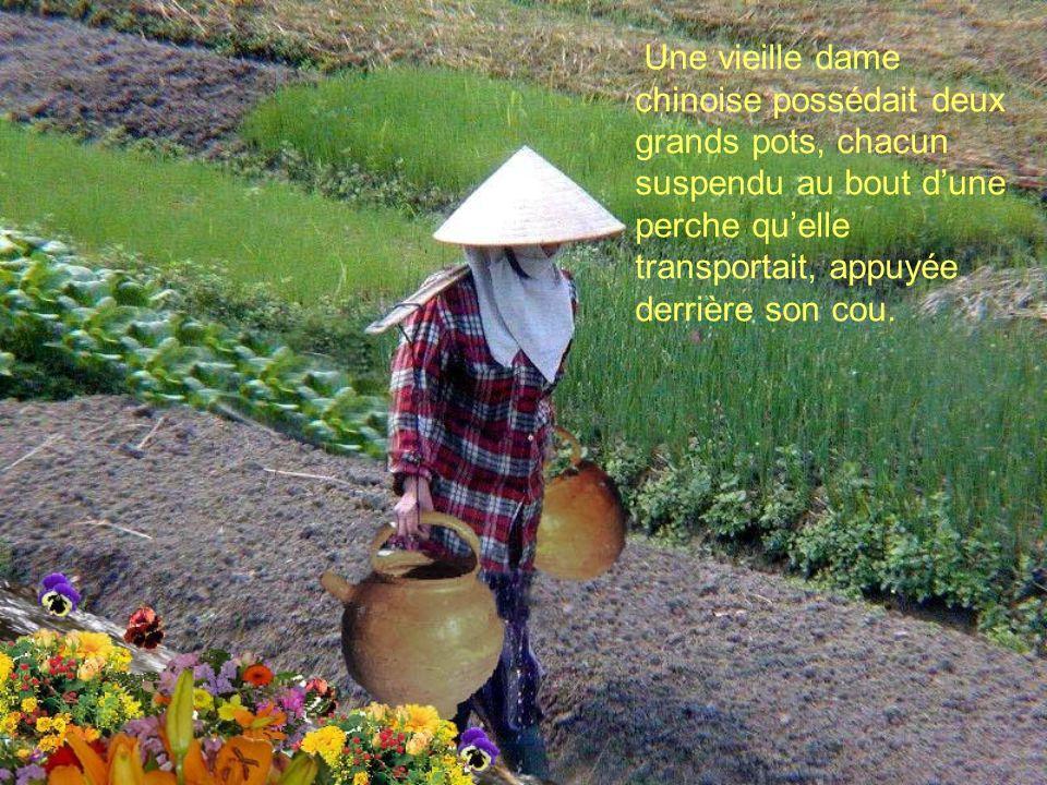 Une vieille dame chinoise possédait deux grands pots, chacun suspendu au bout dune perche quelle transportait, appuyée derrière son cou.