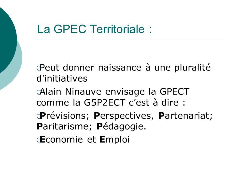 La GPEC Territoriale : Peut donner naissance à une pluralité dinitiatives Alain Ninauve envisage la GPECT comme la G5P2ECT cest à dire : Prévisions; P