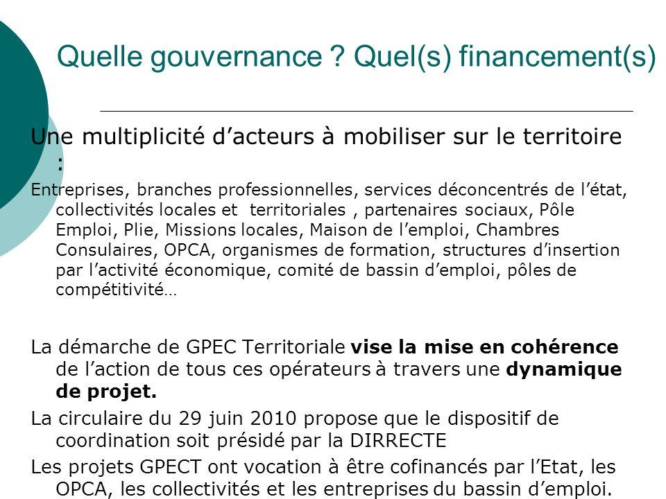Quelle gouvernance ? Quel(s) financement(s) Une multiplicité dacteurs à mobiliser sur le territoire : Entreprises, branches professionnelles, services