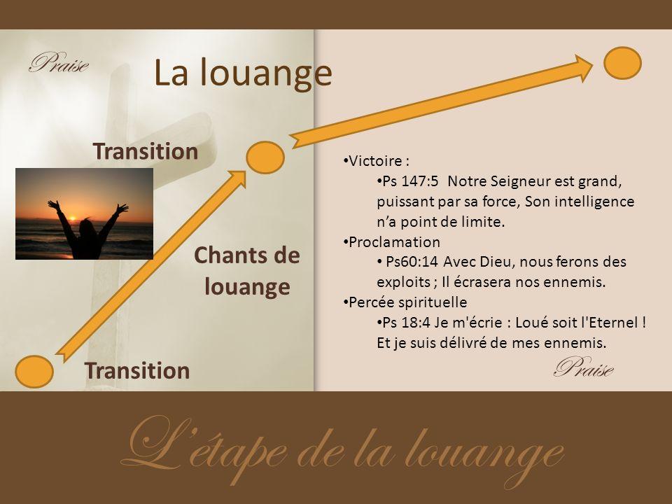 La louange Létape de la louange Transition Chants de louange Transition Victoire : Ps 147:5 Notre Seigneur est grand, puissant par sa force, Son intel
