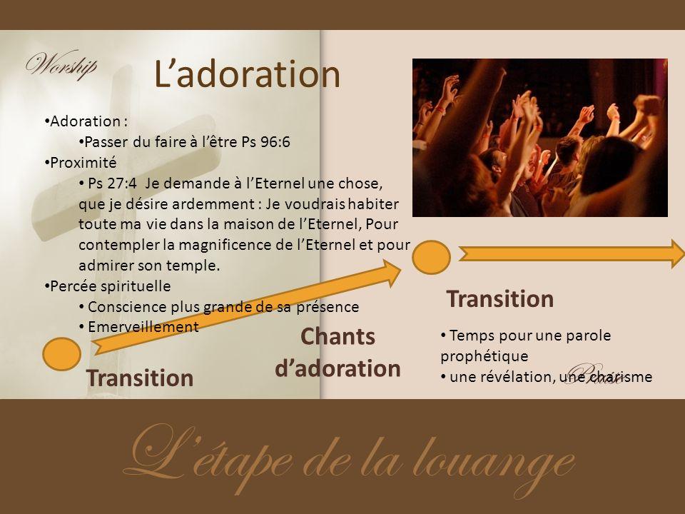 Ladoration Létape de la louange Transition Chants dadoration Transition Adoration : Passer du faire à lêtre Ps 96:6 Proximité Ps 27:4 Je demande à lEt
