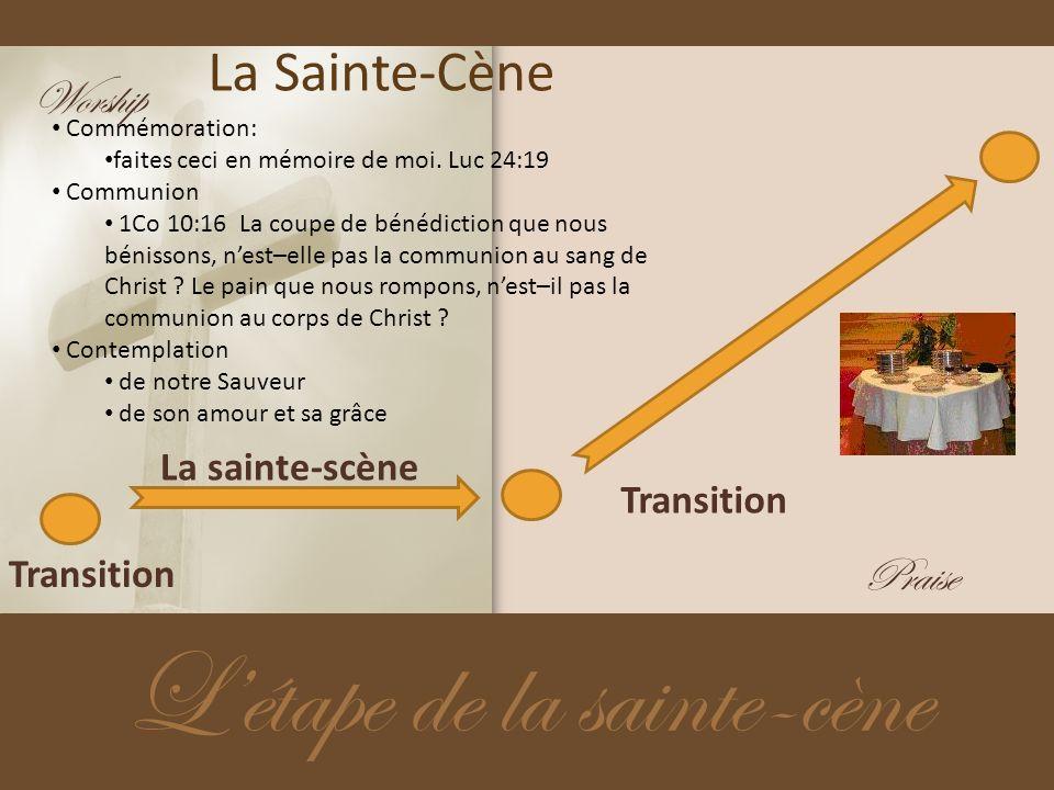 La Sainte-Cène Létape de la sainte-cène Transition La sainte-scène Transition Commémoration: faites ceci en mémoire de moi. Luc 24:19 Communion 1Co 10