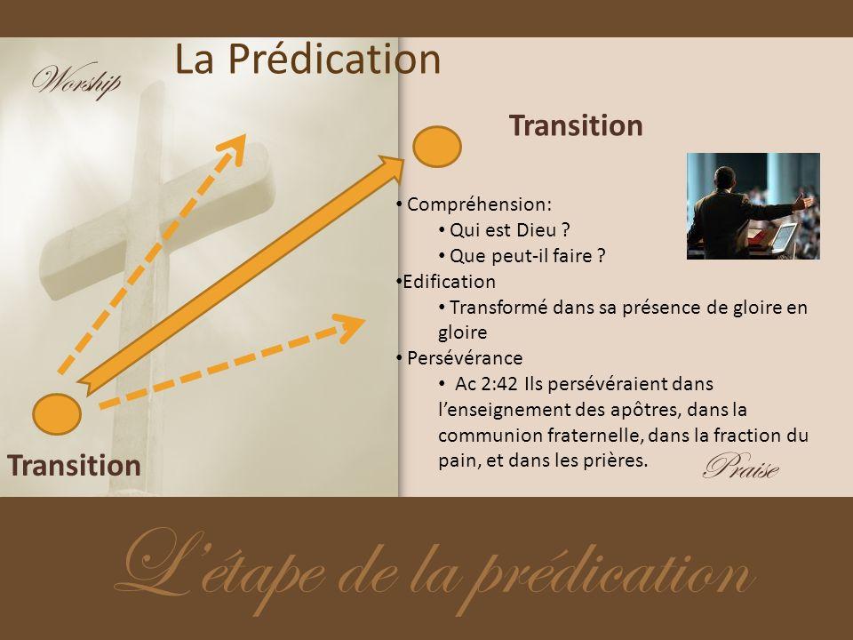 La Prédication Létape de la prédication Transition Compréhension: Qui est Dieu ? Que peut-il faire ? Edification Transformé dans sa présence de gloire