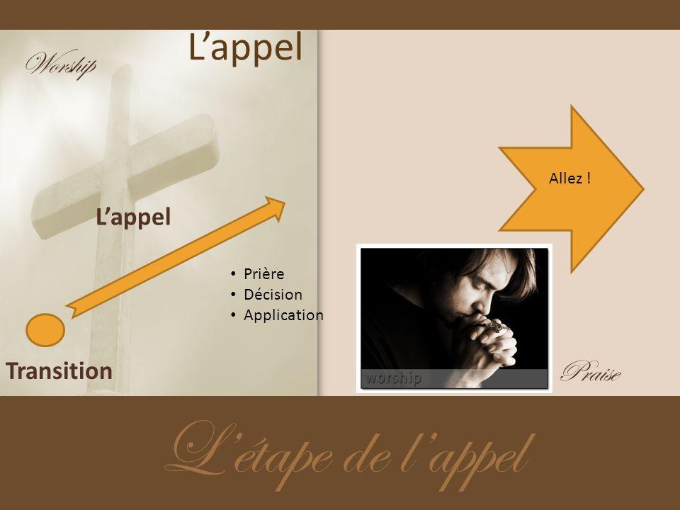Lappel Létape de lappel Transition Lappel Prière Décision Application Worship Praise Allez !