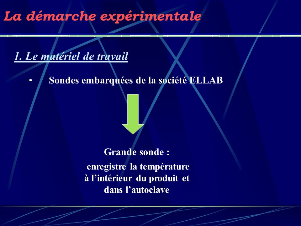 La démarche expérimentale 1. Le matériel de travail Sondes embarquées de la société ELLAB Grande sonde : enregistre la température à lintérieur du pro