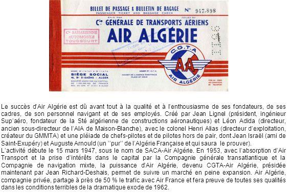 Le succès dAir Algérie est dû avant tout à la qualité et à lenthousiasme de ses fondateurs, de ses cadres, de son personnel navigant et de ses employés.