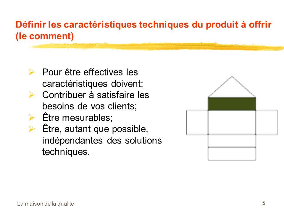 La maison de la qualité 5 Définir les caractéristiques techniques du produit à offrir (le comment) Pour être effectives les caractéristiques doivent; Contribuer à satisfaire les besoins de vos clients; Être mesurables; Être, autant que possible, indépendantes des solutions techniques.