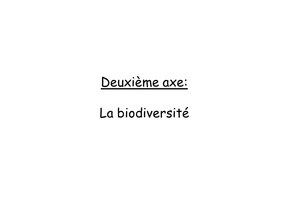 Deuxième axe: La biodiversité