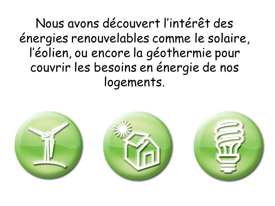 Nous avons découvert lintérêt des énergies renouvelables comme le solaire, léolien, ou encore la géothermie pour couvrir les besoins en énergie de nos