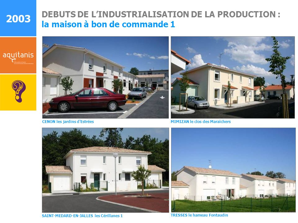 DEBUTS DE LINDUSTRIALISATION DE LA PRODUCTION : la maison à bon de commande 1 MIMIZAN le clos des Maraîchers CENON les jardins dEstrées SAINT-MEDARD-E