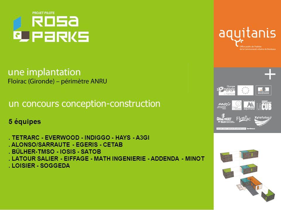 un concours conception-construction 5 équipes.TETRARC - EVERWOOD - INDIGGO - HAYS - A3GI.