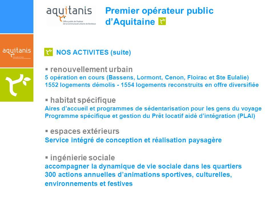 Premier opérateur public dAquitaine NOS ACTIVITES (suite) renouvellement urbain 5 opération en cours (Bassens, Lormont, Cenon, Floirac et Ste Eulalie)
