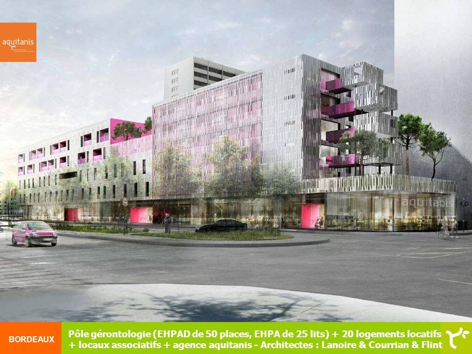 BORDEAUX Pôle gérontologie (EHPAD de 50 places, EHPA de 25 lits) + 20 logements locatifs + locaux associatifs + agence aquitanis - Architectes : Lanoi