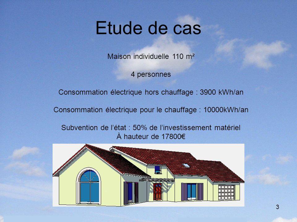 3 Etude de cas Maison individuelle 110 m² 4 personnes Consommation électrique hors chauffage : 3900 kWh/an Consommation électrique pour le chauffage :
