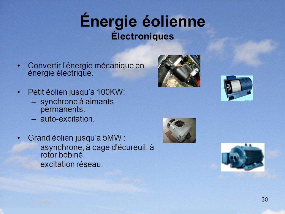 30 Énergie éolienne Électroniques Convertir lénergie mécanique en énergie électrique. Petit éolien jusqua 100KW: –synchrone à aimants permanents. –aut