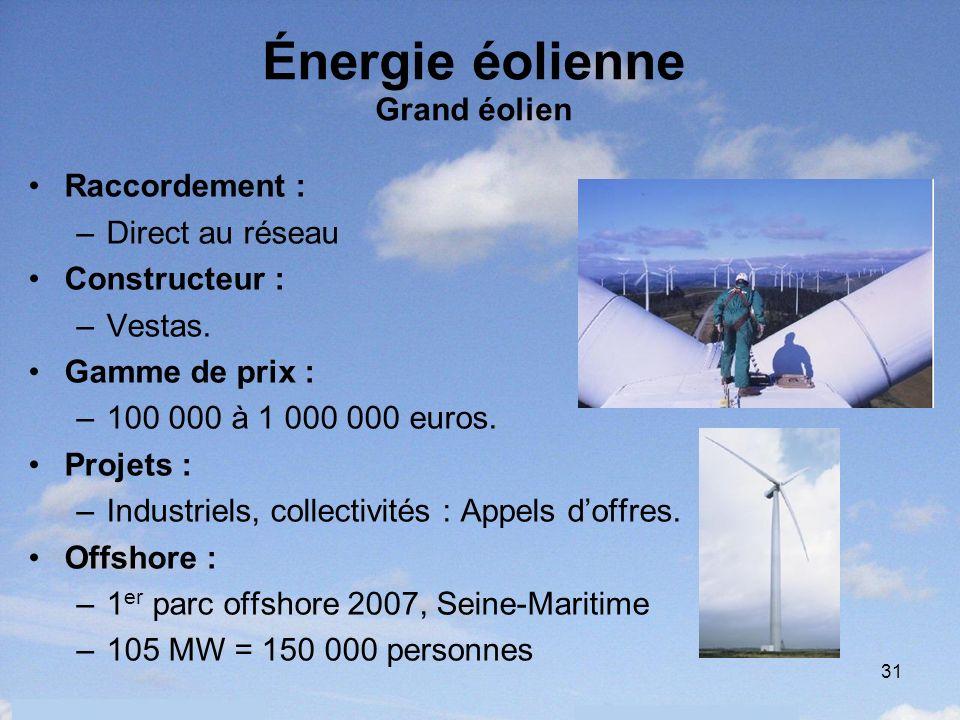 31 Énergie éolienne Grand éolien Raccordement : –Direct au réseau Constructeur : –Vestas. Gamme de prix : –100 000 à 1 000 000 euros. Projets : –Indus