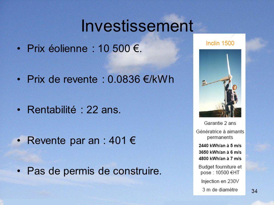 34 Investissement Prix éolienne : 10 500. Prix de revente : 0.0836 /kWh Rentabilité : 22 ans. Revente par an : 401 Pas de permis de construire.
