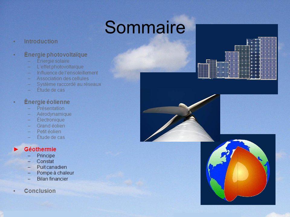 36 Sommaire Introduction Énergie photovoltaïque –Énergie solaire –Leffet photovoltaïque –Influence de lensoleillement –Association des cellules –Systè