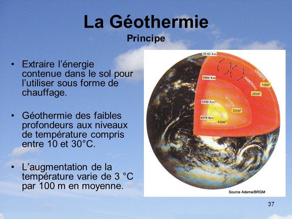 37 La Géothermie Principe Extraire lénergie contenue dans le sol pour lutiliser sous forme de chauffage. Géothermie des faibles profondeurs aux niveau