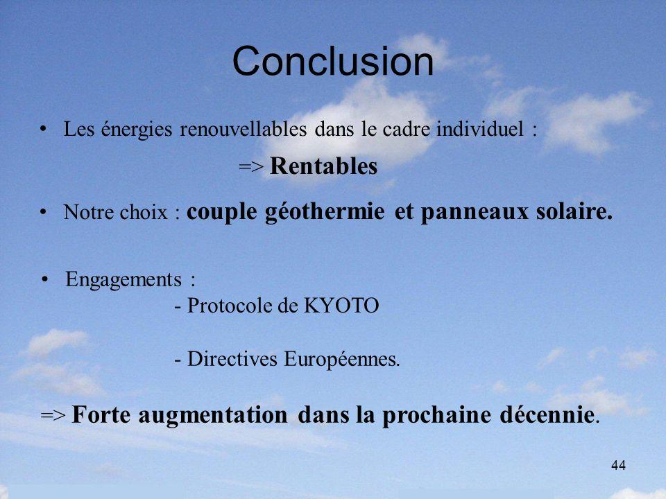 44 Conclusion Les énergies renouvellables dans le cadre individuel : => Rentables Notre choix : couple géothermie et panneaux solaire. Engagements : -