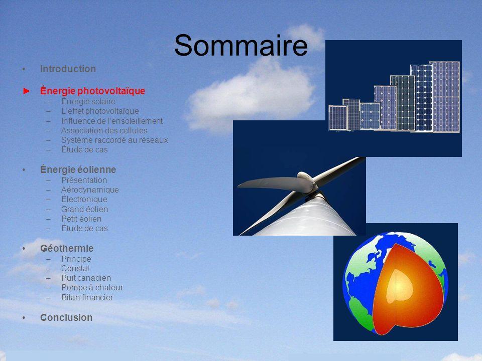 5 Sommaire Introduction Énergie photovoltaïque –Énergie solaire –Leffet photovoltaïque –Influence de lensoleillement –Association des cellules –Systèm
