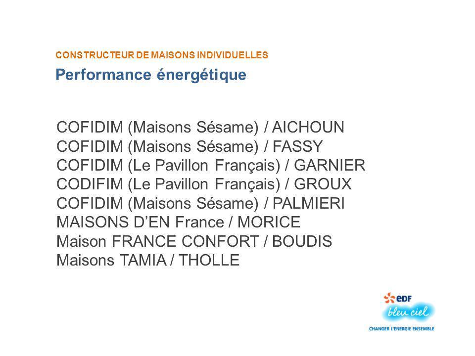 CONSTRUCTEUR DE MAISONS INDIVIDUELLES COFIDIM (Maisons Sésame) / AICHOUN COFIDIM (Maisons Sésame) / FASSY COFIDIM (Le Pavillon Français) / GARNIER CODIFIM (Le Pavillon Français) / GROUX COFIDIM (Maisons Sésame) / PALMIERI MAISONS DEN France / MORICE Maison FRANCE CONFORT / BOUDIS Maisons TAMIA / THOLLE Performance énergétique