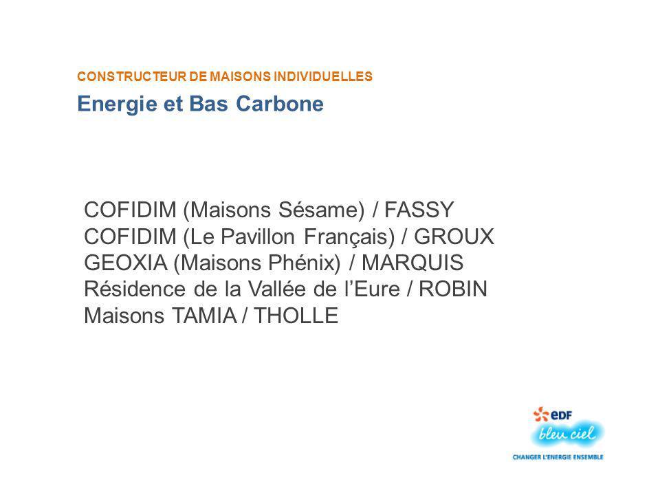 CONSTRUCTEUR DE MAISONS INDIVIDUELLES COFIDIM (Maisons Sésame) / FASSY COFIDIM (Le Pavillon Français) / GROUX GEOXIA (Maisons Phénix) / MARQUIS Réside