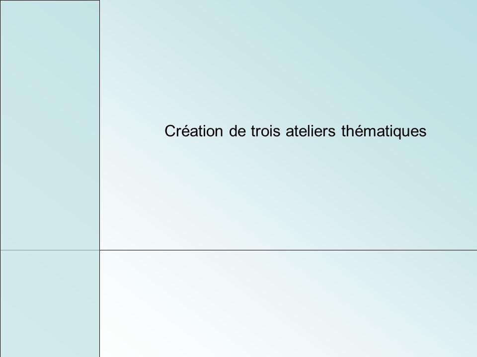 Création de trois ateliers thématiques