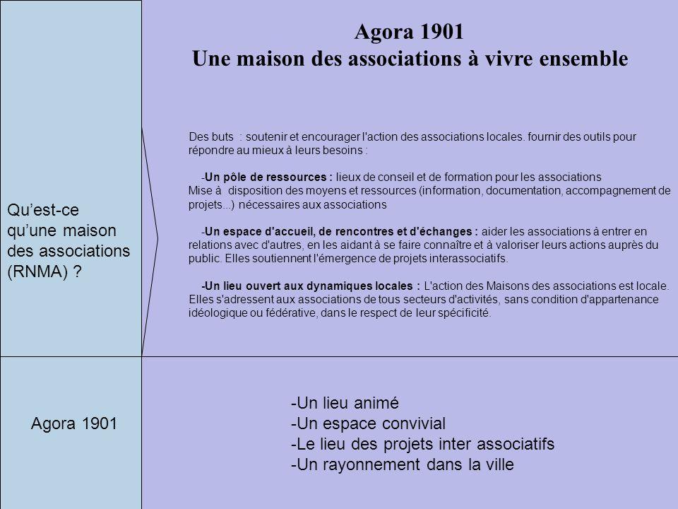 Agora 1901 Une maison des associations à vivre ensemble Des buts : soutenir et encourager l'action des associations locales. fournir des outils pour r