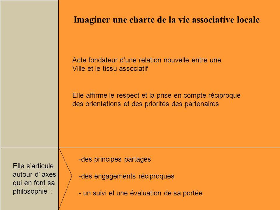 Imaginer une charte de la vie associative locale -des principes partagés -des engagements réciproques - un suivi et une évaluation de sa portée Acte f