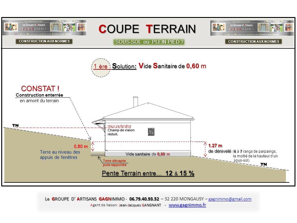 COUPE TERRAIN SOUS-SOL ou PLEIN PIED ? CONSTRUCTION AUX NORMES 0,80 0,80 m Terre au niveau des appuis de fenêtres C Construction 8,40 m sur 8,40 m de