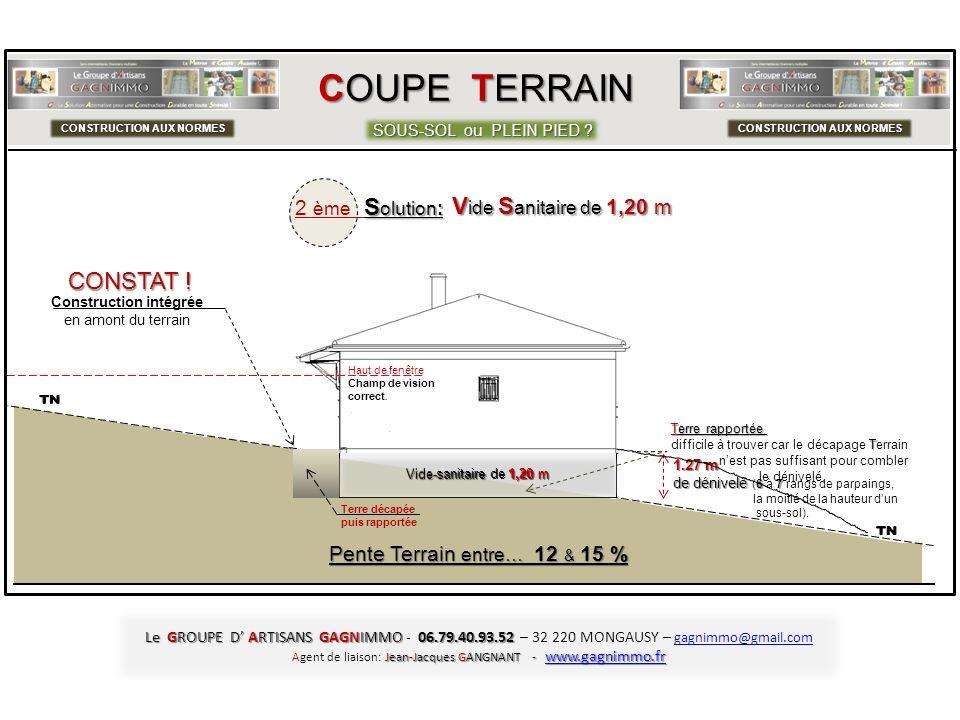 COUPE TERRAIN SOUS-SOL ou PLEIN PIED ? CONSTRUCTION AUX NORMES C Construction 8,40 m sur 8,40 m de large 1.27 m de dénivelé 67 de dénivelé (6 à 7 rang